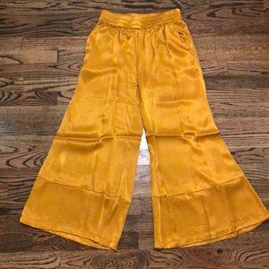 Gold silk pants